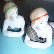 Pair of Bisque Bathing Beauty Figures -1920's -unmarked, German