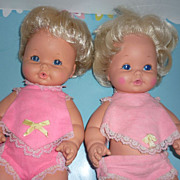 Mattel -Pair of ~Baby Tender Love~ Dolls -Original Clothing + HTF Booties!