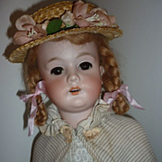 "C.M. Bergmann Doll -Circa 1910- Wears Antique Clothes, Cape, Brown Eyed Beauty - 20"" Tall"