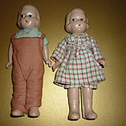"1930's -Composition Dolls- Boy & Girl -  6 3/4"" Tall -Sweet Pair-"