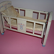 1950's ~Keystone Wood Toys - Doll Furniture- Baby Drop Side Crib & Bedding~