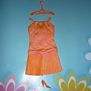 Mattel-Barbie ~Disco Dater~ Dress, Hanger, Single Shoe, #1807 From 1967 - 1968