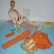 Mattel -Molded Hair Midge Doll + Tennis Anyone & Pak Purse, Blouse, Slacks, Fun Lot!