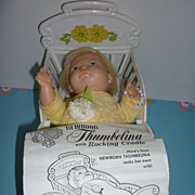 Ideal~Newborn Thumbelina With Rocking Cradle~All Original-Canadian Issue