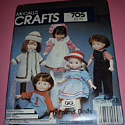 McCall's My Friend Dolls-Pattern-#705 From 1983 Partially Cut