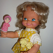 REDUCED Mattel Peachy and Her Puppets Doll from 1972-Original Clothes + 2 Puppets