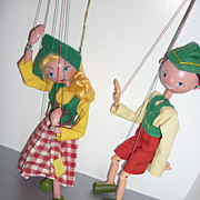 "SOLD Pelham Puppets-Tyrolean Boy and Dutch Girl with Her Box 12"" tall"