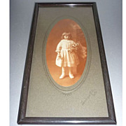 Antique Framed Photo - Little Girl  with her Bisque Doll -Sweet