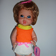 Mattel ~Baby Small Walk Doll~ All Original With Cardboard Hang Tag -1967