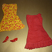 Mattel ~1969 - Barbie Sunshiner Pak Dresses~- Floral and Polka Dots with Shoes