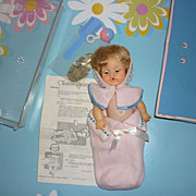 Ideal ~Tearie Dearie Doll~ 1964 Canadian Issue -Tagged Outfit, Crib Bed, Rattle, Comb, ...