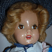 "1930's-40's Composition Doll-Unmarked-20"" Tall -Brown Eyes-Blonde Hair"