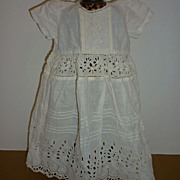 "Antique White Doll Dress - Embroidered Detail -All White -15"" Long"