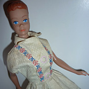 SOLD Mattel Midge Doll-1964- Molded Head -Orange Head Band -vintage dress