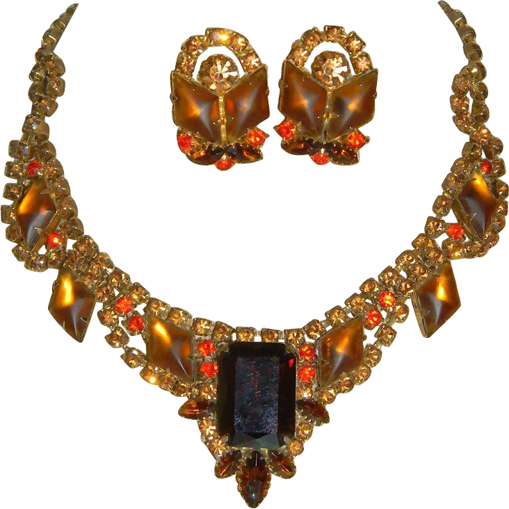"Stunning Juliana Huge Rhinestone Necklace/Earrings with 2"" Drop"