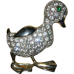 Cute Vintage Clear Rhinestone Studded Large Duck. Quack! Quack!