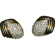 Stunning Vintage CINER Paved Set Rhinestone Earrings GORGEOUS!!!