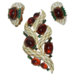 Crown Trifari L' Orient Amber--Enamel Snake Brooch and Earrings by Alfred Philippe