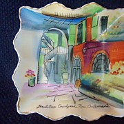REDUCED Vintage Brulatour Courtyard, New Orleans Porcelain Dish