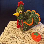 Vintage Hen Thread Holder and Tomato Pin Cushion