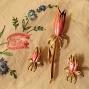 Vintage Parklane Pink Tulip Brooch and Earrings