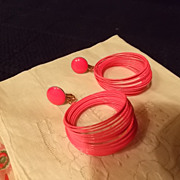 Vintage Vendome Hot Pink Earrings