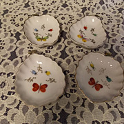 Vintage  Lenwile China Butterfly and Insect  Dishes , Set of 4