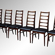 SOLD Six Danish Modern Teak Neils Koefoed Ladder Back Dining Chairs