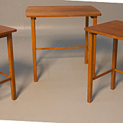 SOLD Danish Modern Teak Nest of Side End Tables