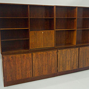 SOLD Omann Jun Danish Modern Rosewood 8ft Wall Unit Bookcase