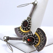 Suarti 925, 18K and Garnet Pendant Fan Earrings