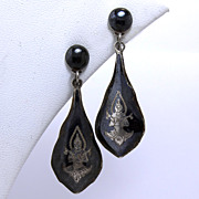 Lovely Drop Dangle Estate Nielloware Sterling Silver Earrings