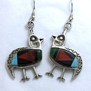 Estate Skyway Trading Company Southwestern Inlay Bird Earrings