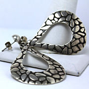 Funky Estate Sterling Silver Mexican Earrings