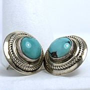 Estate R Walsh Sterling Silver and Faux Turquoise Earrings