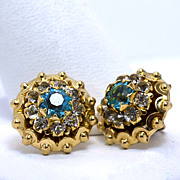Vintage 10K Blue and Clear Rhinestone Earrings