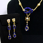 SALE Victorian 18K  Pearl, Rose Cut Diamond and Cobalt Blue Enamel Earring and Necklace Set