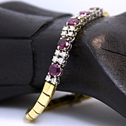 Estate Italian 18K Two Tone Ruby and Diamond Bracelet