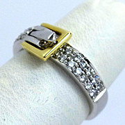 Estate 14K Two-Tone Diamond Buckle Ring