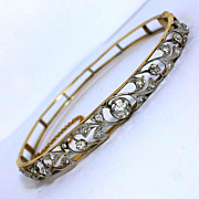 Edwardian 12K and Platinum 1.33tcw Diamond Vine Bangle