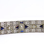 Superb Art Deco 14K and Platinum Diamond and Sapphire Bracelet