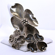 Vintage Hand Wrought Stuart Nye Sterling Silver Dogwood Flower Brooch and Earring Set