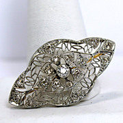 Art Deco Platinum Diamond Filigree Brooch Pin
