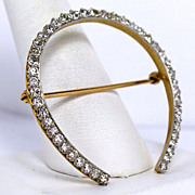 Platinum and Gold 2tcw Diamond Horseshoe Brooch