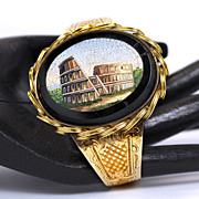 Victorian Grand Tour 10K Micro-mosaic Colosseum Bangle Bracelet