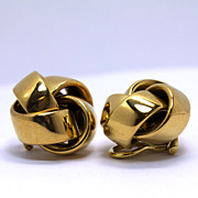 Old World Chain 18K Clip-On Knot Earrings