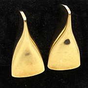 Funky Three Dimensional 18K George Jensen Clip-On Earrings