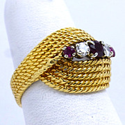 Vintage 18K Two Toned Ruby and Diamond Basket Weave Ring