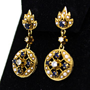 Vintage 14K Sapphire, Diamond and Seed Pearl Dangle Earrings