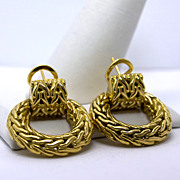 Estate 18K John Hardy Basket Weave Earrings